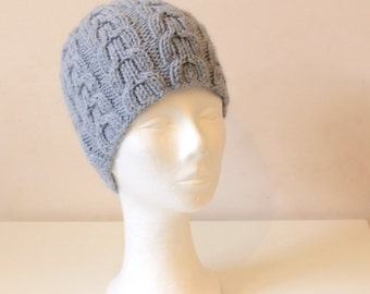 Hand knit light blue cable hat in alpaca wool