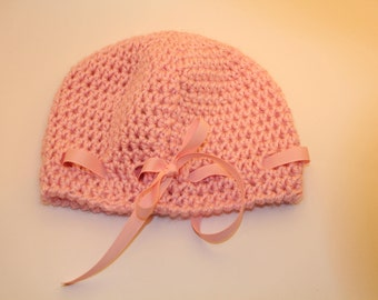Pink Bow Crochet Toddler Hat