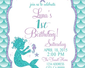 ON SALE Baby Mermaid Birthday Invitation, Mermaid Party Invite Under the sea mermaid glitter first birthday 1st birthday