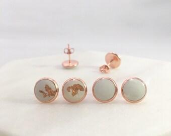 White x Rose Gold Stud Earrings