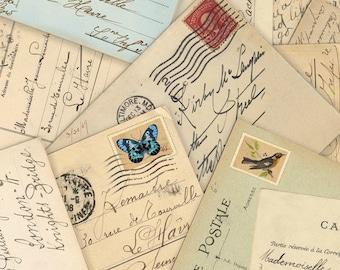 Spring in Paris fabric by Elizabeth's Studio postcards, yard, script, cursive