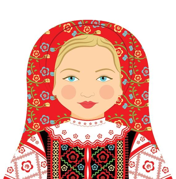 Belarusian Doll Art Print with traditional folk dress, matryoshka