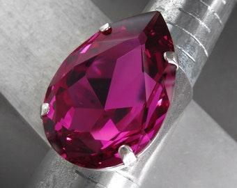 Large Magenta Swarovski Crystal Teardrop Ring - Fuchsia, Hot Pink, Magenta Pear Shape Crystal - Antiqued Silver Wide Cuff Adjustable Ring
