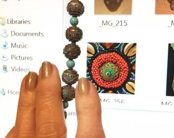 Wonderful Sleeping Beauty Turquoise & Enameled Beads