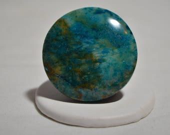 Vintage Blue Chrysocolla Azurite Cabochon Gemstone Ring Size 8.25-8.5
