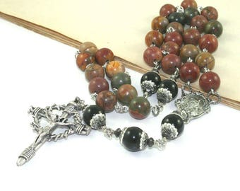 "Substantial Catholic Man's Rosary, 3 Decades, Pewter ""Nails"" Crucifix, Jasper & Agate Gemstone Beads"