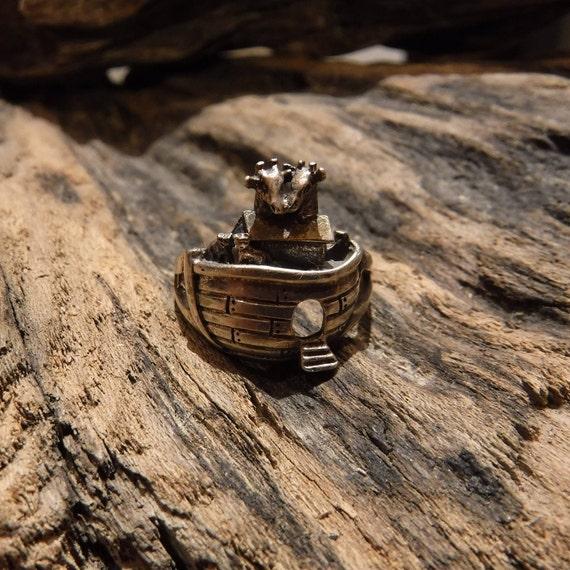 Vintage Sterling Ring Sterling Silver Noah's Ark Ring Vintage Silver Ring Size 7.75 Vintage Womens/Mens Silver Ring Silver ring  Silver Ring