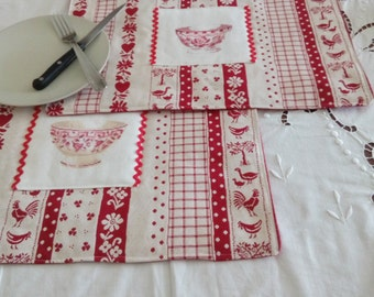 set of 2 placemats fabric (embroidery digoin) price mother!