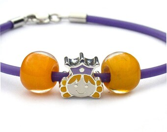 Princess with Crown Purple Rubber Charm Bracelet for Girls