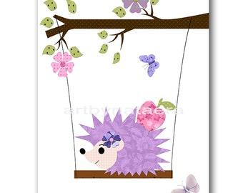 Digital Hedgehog Nursery Baby Girl Nursery Art Printable Art Instant Download Digital Art Kids Room Decor Digital Download Art 8x10 11X14