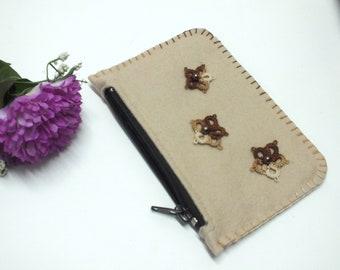 Beige Pouch Felt Coin Purse Zipper Pouch Tampons Pouch Make Up Bag Flower Purse Beige Brown Pouch Felt Wallet Felt Card Holder School Case
