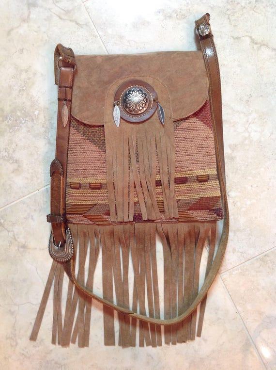 Handmade purse Southwestern print and tan suede leather fringe shoulder bag, Free Shipping!