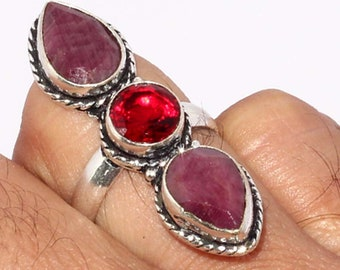 Ruby , Garnet quartz Handmade 925 Silver Plated Ring B 532