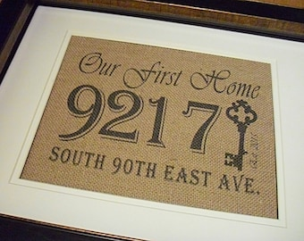 Burlap Wedding Gift, Our First Home Gift, Address Plaque, Address Sign, Burlap Prints Personalized Address Sign, First Home Sign