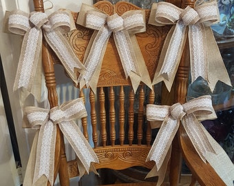 Burlap Lace Bow, (Lot of 5 Bows) Large Burlap Bows,  Wedding Bow,  Wreath Bow, Large Gift Bow, Pew Bow, Chair Bow, Bow Decoration
