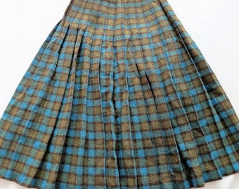 Vintage 1980s Wool Blend Pleated High Waist Modest Skirt XSmall Small Turquoise Avocado Green Plaid