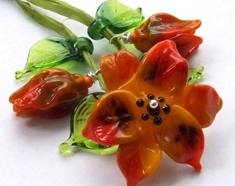 Lampwork Glass Flower Beads for Jewelry Making, Set of Orange flowers with Leaves, Made to Order !