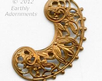 Vintage solid brass stamped filigree.30x20mm Pkg. of 2. b9-0872(e)