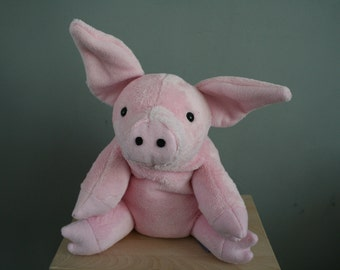 Pink pig plush, very soft and flexible, with weighed feet, made to order