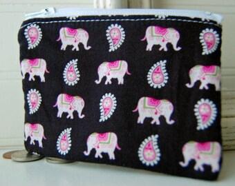 Vera Bradley Reißverschluss Tasche handgefertigt rosa Elefanten schwarzem Druck kleine Reißverschluss Brieftasche ändern Geldbörse Freund Geschenk Idee Reißverschluss Tasche