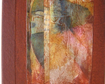 Handmade Journal Refillable Rust Rice Paper Collage 8x6 Original