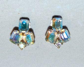 Weiss Rhinestone Earrings, Aurora Borealis, Clip Back, Vintage old jewelry, signed designer