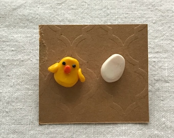 Chick and Egg Mismatched Earrings
