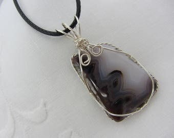 Fortification Agate, Wire Wrapped Pendant