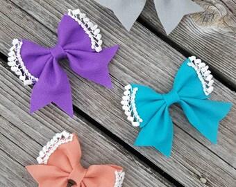 Felt & lace bow/ felt bow/ felt sailor's bow