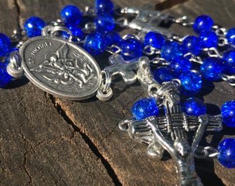 Men's Handmade Saint Michael Catholic Rosary Beads. Masculine Rosary. Blue Catholic Rosary. Catholic Gifts.