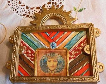 EGYPTIAN DIVA Fabric Art Collage in Gold Metal Rising Sun Frame, Silk Image Red Lace Satin Ribbons Soutache Braid, Summer Altered Decor