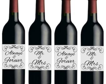 Mr & Mrs Always  Wedding /Anniversary Metallic Silver Wine Bottle Labels -8pack