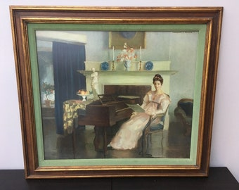 """1940's framed Marguerite Stuber Pearson (1898-1978) art print """"The Song""""."""
