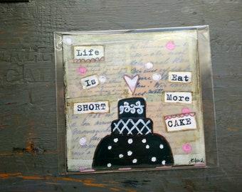 "VENTE! Cupcake Print, 5 ""x 5» gâteau impression, fantasque gâteau, gâteau Art, copie de la vente, la vie est courte Eat plus Cake"