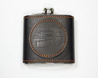 Leather bound flask 6oz w/leather