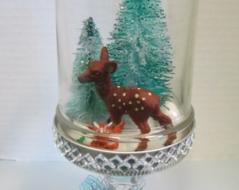 Mason Jar snowglobe handmade deer and owl christmas diorama, trimmed in bling and blue ribbon bow