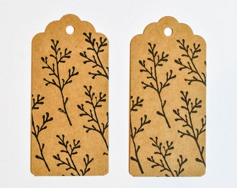 Floral Sprig Gift Tag, Set of 3 or 6 Gift Tags, Lino Printed Gift Tags, Wildflower Print Gift Tags,Gift Tags, Spring Gift Tags