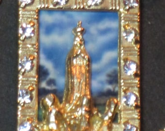Vintage Necklace Our Lady Rhinestones Gold-Filled Scapular