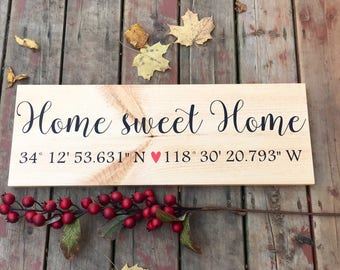 Longitude latitude sign, Home sweet home sign, Wood sign family, Coordinates sign, Rustic home decor
