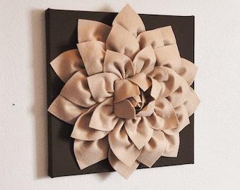 """Flower Wall Hanging -Tan Dahlia Mum on Brown 12 x12"""" Canvas Wall Art- 3D Felt Flower"""
