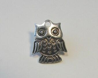 OWL charm, owl, silver, 25 mm x 20 mm.