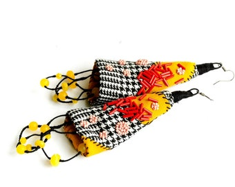 RESERVED LISTING  long lightweight earrings , hand embroidered, geometric , country, fabric textile, extra long, patchwork, earrings