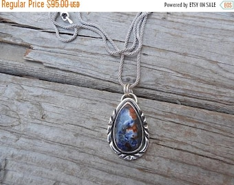 ON SALE Sodalite necklace handmade is sterling silver