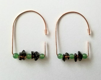 Hammered copper earrings with smoky quartz and amazonite