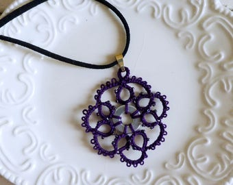 Tatted necklace, tatted lace, tatted pendant necklace, velvet cord, purple necklace, tatted jewelry, lace jewelry, gift idea, ready to ship
