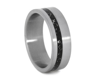 Unique Meteorite Ring, Titanium Wedding Band With Enamel And Meteorite Shavings, Stardust Ring