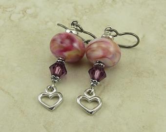 Melted Petal Hues Lampwork & Swarovski Heart Bead Earrings - Valentine Bridal Love Pink Purple Green Hypoallergenic Niobium Ear Wires E3-28