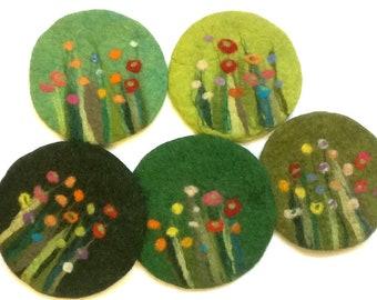 felt pot holder, grass and flowers, green