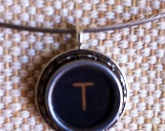 Black Royal letter T key necklace | Typewriter key pendant  | silver tone pendant on silver neckwire