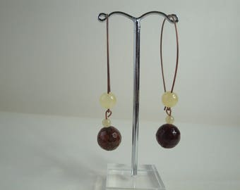 Earrings agate and aragonite